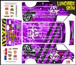Purple Biohazard Response themed vinyl SKIN Kit & Stickers To Fit Tamiya Lunchbox R/C Monster Truck